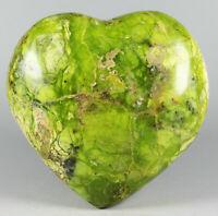 Amazing Unique Green Opal Pattern  Reiki Heart Palm Stone Madagascar