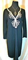 EUC Lilly Pulitzer L 100% Merino Wool Black Devlin Gold Soutache Knit Dress