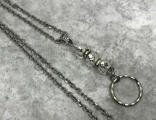 Crystal with Rhinestones Silver Chain Lanyard, Badge ID Holder Breakaway Opt.