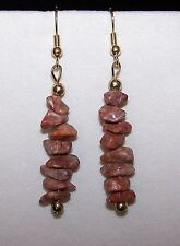 Handmade LIGHT RED GRAY JASPER STONE CHIP BEAD DROP DANGLE EARRINGS