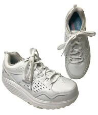 Skechers Shape Ups Womens 6 White Leather Walking Toning Rocker 2.0 Shoes