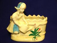 1950'S SHAWNEE DUTCH GIRL PLANTER-WATERING CAN-FENCE-FLOWERS-MARKED USA-NOT USED