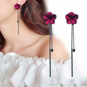 2021 Red Flower Long Tassel Stud Earrings Drop Dangle Women Wedding Jewelry Gift