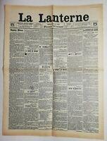 N537 La Une Du Journal La lanterne 14 septembre 1909 la geurre de Chine échos