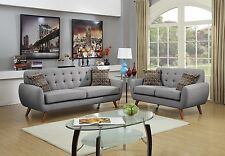 Modern Retro Grey Fabric Sofa and Loveseat Set Reception Office Home