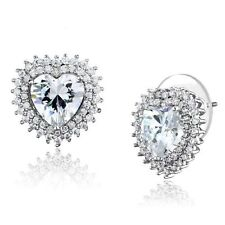 Unbranded Heart Rhodium Plated Costume Earrings