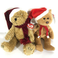 Ty Lot Of 2 Santa's Beanie Baby Teddy And Ty Jangle With Jointed Limbs