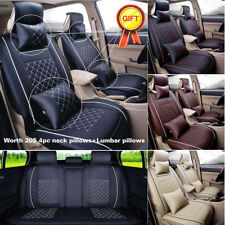 Full Set 5-Seats Car Seat Cover Front+Rear Cushion 100% PU Leather W/4pc Pillows