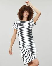 Joules Womens Riviera Long Length Jersey Dress - Cream Navy Stripe