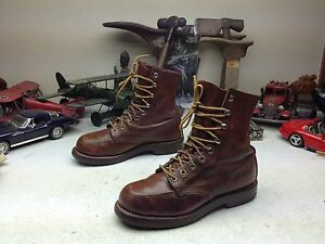 DISTRESS VINTAGE USA BROWN LEATHER RED WING LACE UP PACKER CHORE WORK BOOTS 7.5D