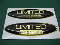 2 OVAL LIMITED EDITION DOMED STICKERS Mirror Gold on Black