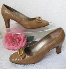 Vintage 60s Andrew Geller Lizard Leather Pumps Heels 6.5B Gold Buckle Detail