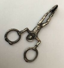 Antique Gorham ? Sterling Silver  Harlequin Sugar Nips With Snakes Serpents