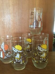 Holly Hobbie ? Kirby Martin Glasses Hard To Find Set Of 6 Glasses