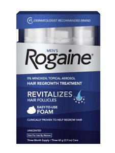 ROGAINE Mens 5% Minoxidil Unscented Foam - 3 Months Supply Expiration 2022/10