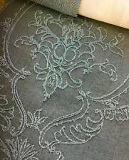 Embroidered Faux Silk Cotton Lycra Drapery Fabric Antique Aqua IL10