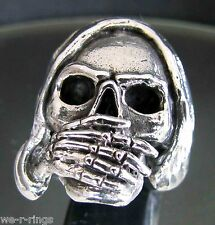 Speak No Evil Sterling Silver .925  Death Skull biker Ring RG0053/S