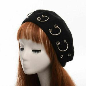 Vintage Harajuku Women's Beanie Punk Iron Ring Beret Lolita Girls Painter Hat