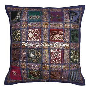 Ethnic Cotton Bench Cushions Blue 40x40 cm Patchwork Geometrical Pillow Covers
