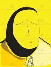 Pintura Dibujo extraño oración rostro amarillo impresión de arte poster MP3706B