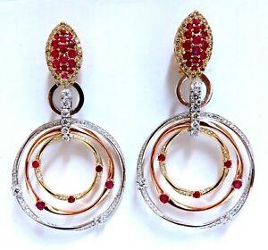 7.38ct Natural Ruby Diamond Dangle Chandelier Earrings 14 Karat Gold Omega