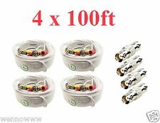 4x White 100ft Power & Video Cable for Security CCTV use / Zmodo / Swann / Qsee