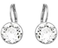 BELLA MINI PIERCED EARRINGS, WHITE RHODIUM made with Swarovski Crystal