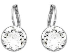 Rhodium made with Swarovski Crystal Bella Mini Pierced Earrings, White