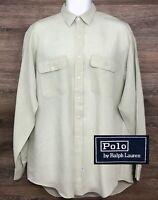 Polo Ralph Lauren Men's 100% Linen Light Green Long Sleeve Button Front Shirt M