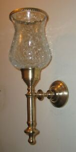 Solid Brass Candlestick Wall Candle Holder w/Glass Crinkled Hurricane Lamp