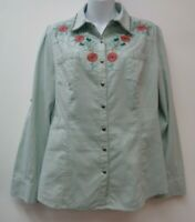 Tasha Polizzi Medium Green Womens Top Shirt Blouse Floral Embroidered 55% Linen
