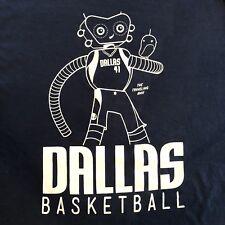 Dallas Mavericks 41 The Traveling Man T-Shirt Adult XL Robot Blue Mavs vs Kings