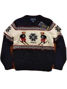 Polo Ralph Lauren Boys SZ S 8 Black Ski Polo Bear CrewNeck Pullover Sweater blue