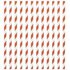 Stripe Paper Drinking Straws Orange Deluxe Vintage Retro Birthday Wedding UK 24