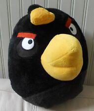 Large/Big BLACK ANGRY BIRD Soft Plush Stuffed Animal Pillow Bean Bag 13X13