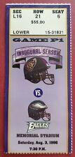 BALTIMORE RAVENS 1996 1ST NFL GAME TICKET STUB, PRE SEASON VS EAGLES