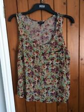 Topshop Sheer Boho Vintage Rose Camisole Vest Top. Beautiful S12