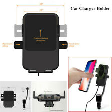 QI Wireless Phone Charger Dual USB Universal Car Holder Cigarette Lighter Mount