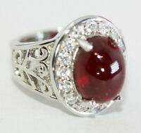 Stunning 5 CT Oval Cabochon Solitaire Pigeon Blood Red Ruby 925 Silver Sz 6.5