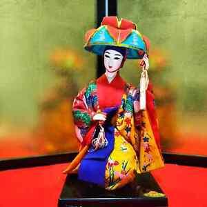 "Japanese Geisha doll in Kimono sitting style 14"" 35cm on wooden base Ryukyu Doll"