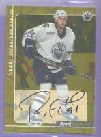 Ryan Smyth GOLD 2000-01 BAP Be A Player Autograph Signed #27 Edmonton Oilers