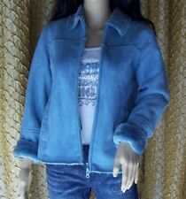 Paris Blues Outerwear Powder Blue Jacket Size S Faux Suede 2- zippers