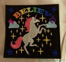 Embroidered Unicorn Rainbow I Believe Fantasy Fairytales Black Patch Iron On USA
