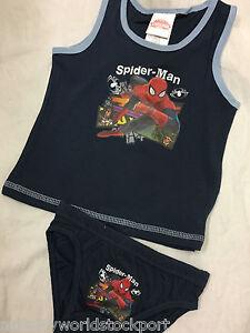 boys underpants pants & vest set spiderman navy red holidays holiday