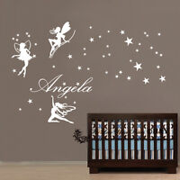 Custom Personalised Name 3 Pcs Fairies Stars Wall Art Stickers Kids Girls Decor