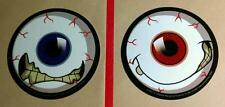 LOT OF 2 BLOODSHOT EYES RED BLUE EYE ANGRY FACE DOPEY TOOTH FUN STICKERS STICKER