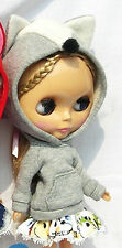 Blythe Doll Outfit Fox Head with Hat Long Sleeve Tee Hoody (Gray)
