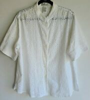 Draper's & Damon's White Short Sleeve Eyelet Top Shirt sz 1X New