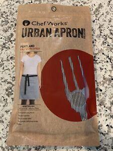 Chef Works Urban Apron Portland Half Bistro Apron Black White Stripe New