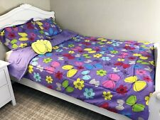 New 6 Pieces Twin Size Kids Girls Bed In A Bag Comforter Set,Lilac Butterfly